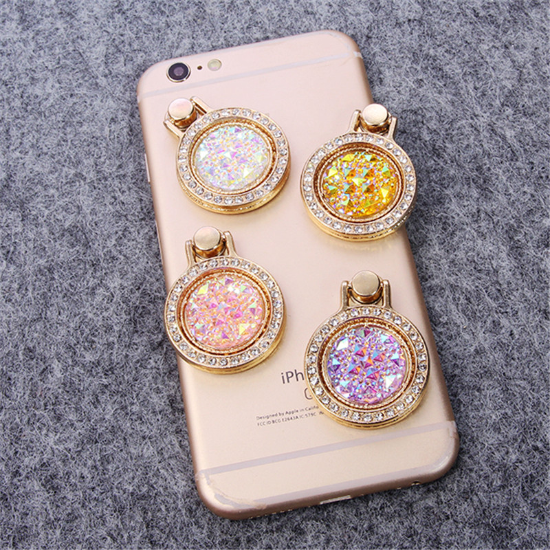 Fashion Luxury Diamond Finger Ring Holder Crystal Rhinestone Glitter Mirror Case With Gem Holders Stand For Iphone X 6 7 8 Plus