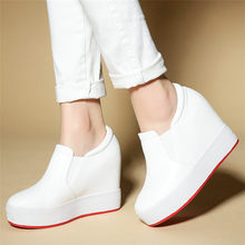Tennis Shoes Women Cow Leather Wedges Platform Pumps Round Toe High Heel Ankle Boots Slip On Trainers Shoes Low Top Creepers New jady rose strange heel women ankle boots high heel wedge shoes woman slip on wedges female autumn winter boot women pumps
