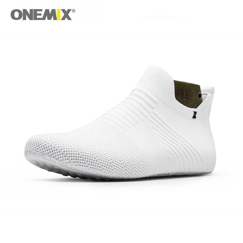 ONEMIX erkekler kapalı yürüyüş ayakkabısı siyah iç terlik yüksek elastik ipek hiçbir tutkal çevre ışık serin çift spor ayakkabılar