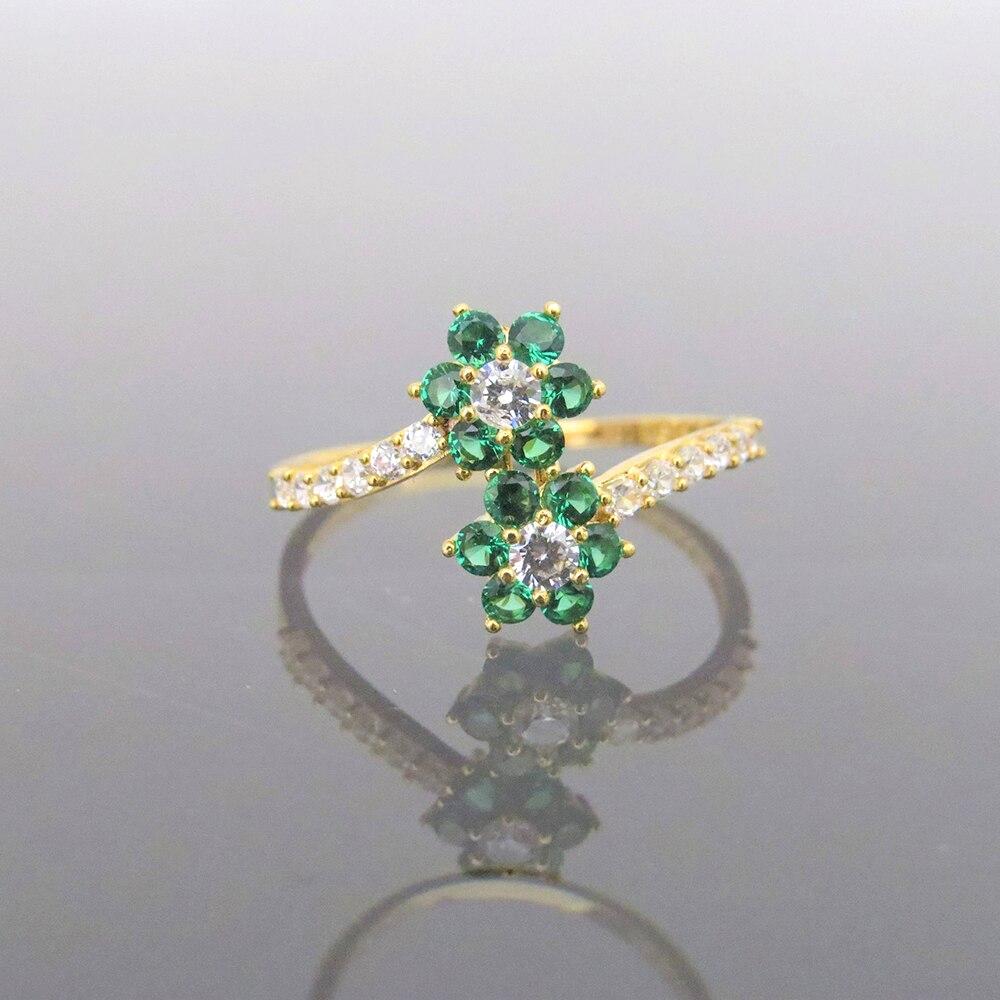 Прекрасный 14 К желтого золота 0.4CTW 1,5 мм Supre белый Moissanite & Tsavorite скручивающий браслет обручальное кольцо для женщин - 4