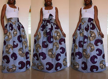 African Bazin Riche Dresses African Women Clothing New Real Polyester 2017 Chiffon Print Skirt, Name, Wind Dress, Skirt