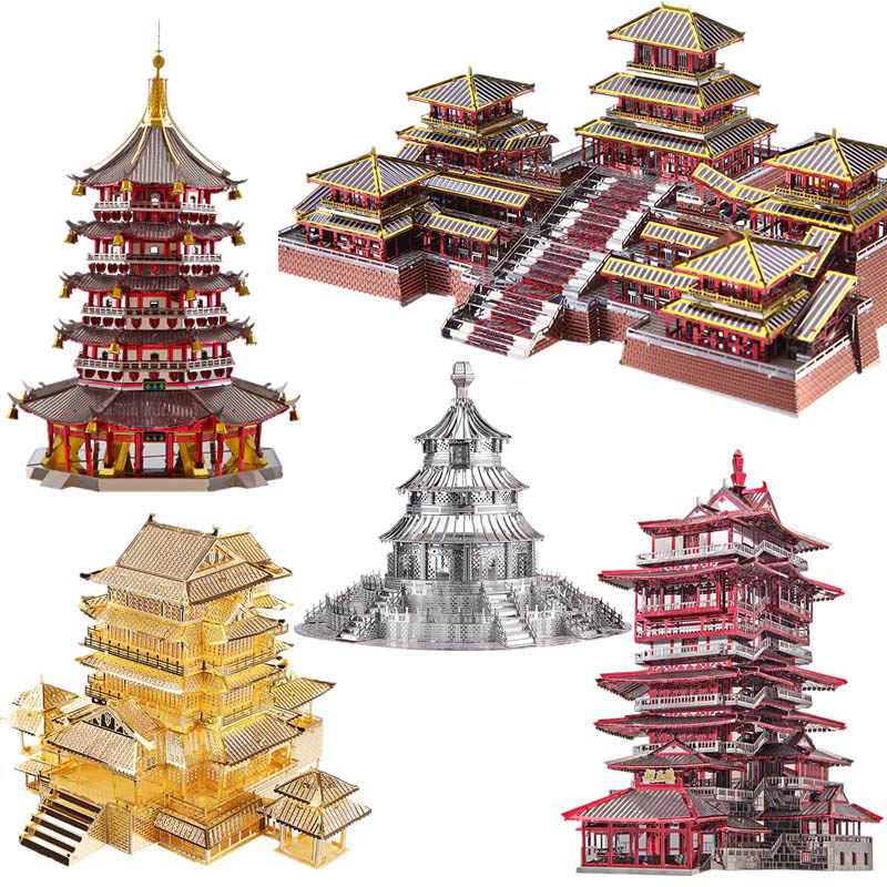 Piececool DIY 3D Metal Puzzle Toy Simulation Chinese Ancient Architecture Assembly Model Puzzle Toys For Adults куртка helium куртки короткие