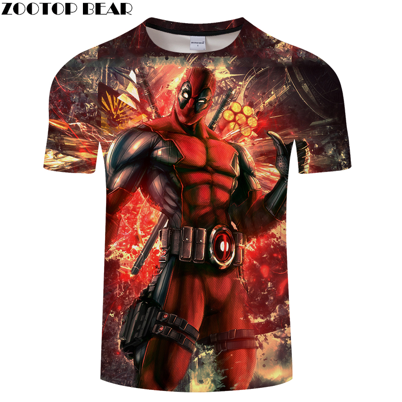 Deadpool 3D Print t shirt Men Women tshirt Summer Casual Short Sleeve O-neck Tops&Tee Streetwear Comic Drop Ship ZOOTOP BEAR