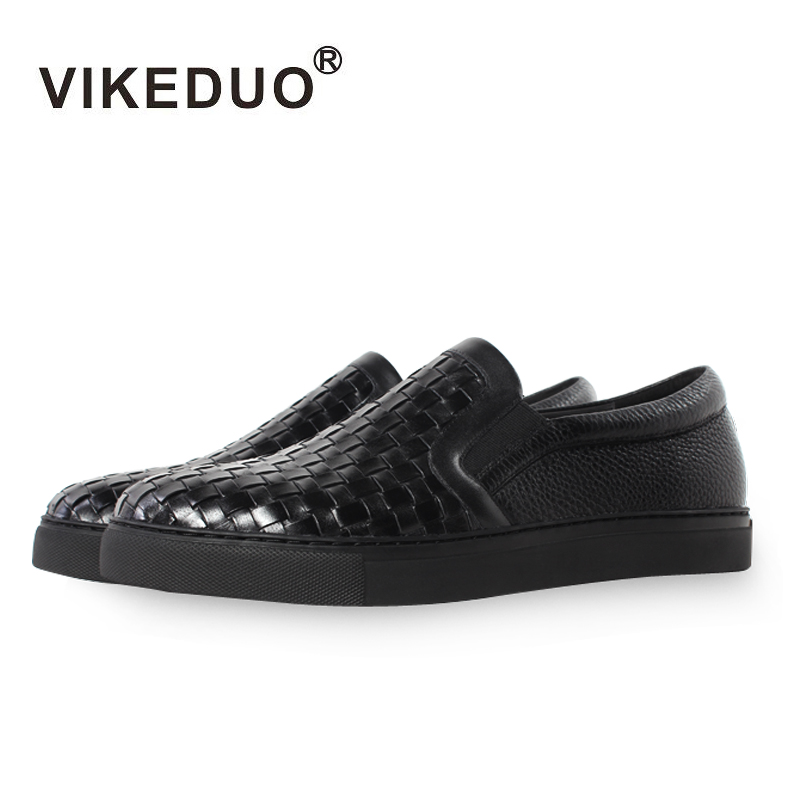 Vikeduo 2019 Summer Handmade Designer High Quality Men Flats Shoes Breathable Fashion Genuine Leather  Casual Black Footwear