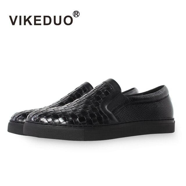 Vikeduo 2020 été à la main concepteur de haute qualité hommes chaussures plates respirant mode en cuir véritable décontracté noir chaussures