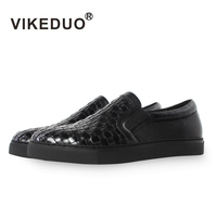 Vikeduo 2020 Summer Handmade Designer High Quality Men Flats Shoes Breathable Fashion Genuine Leather Casual Black Footwear