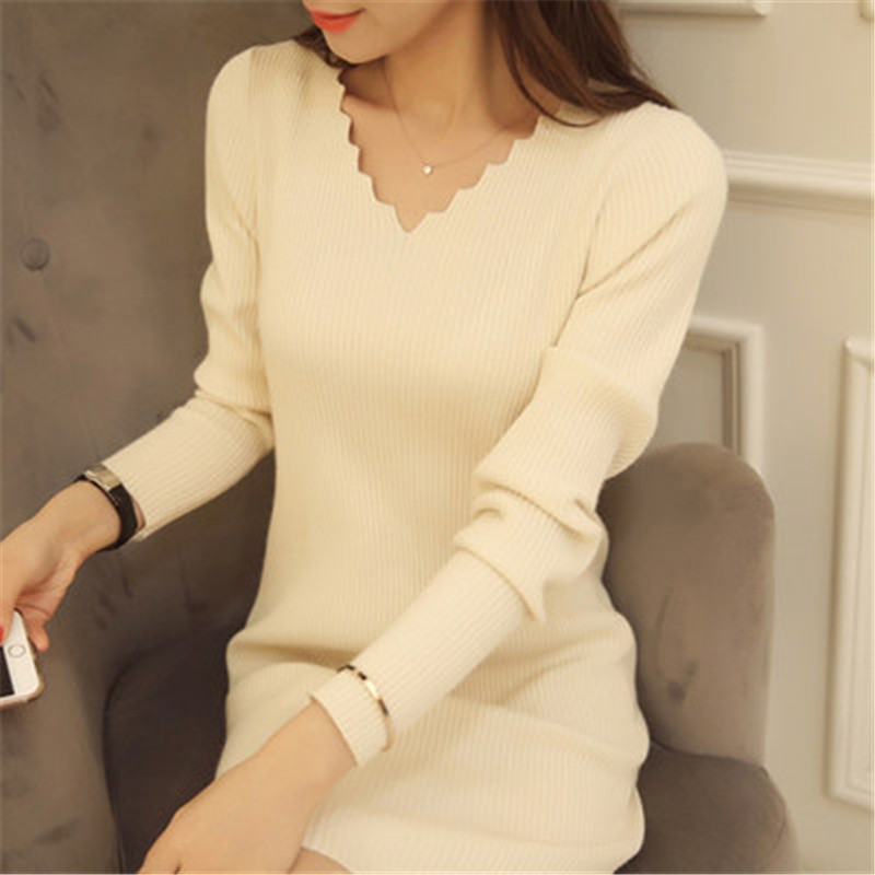 Women Sexy Sweater Dress Autumn Winter Fashion V Neck Bodycon Basic Mini Solid Color Knitted Dress Pullover Maxi Dress ZY2781 5