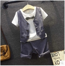 2016 new summer holiday two Korean boys T-shirt Vest + leisure pants two piece suit children cross