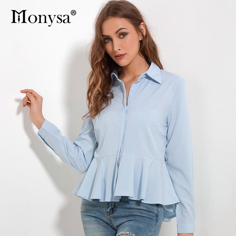 Women OL Shirts Frilly Ruffles Tee Blouse Ladies Casual 3//4 Sleeve Chiffon Tops