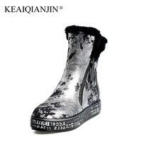 KEAIQIANJIN Kobieta Shearling Wełny Buty Śniegu Zimowe buty z Prawdziwej Skóry Buty Platformy Złoty Srebrny Botki Plus Rozmiar 34-40