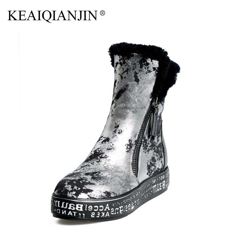KEAIQIANJIN Woman Shearling Snow Boots Wool Winter Genuine Leather Shoes Platform Golden Silver Ankle Boots Plus