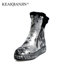 KEAIQIANJIN Woman Shearling Snow Boots Wool Winter Genuine Leather Shoes Platform Golden Silver Ankle Boots Plus Size 34 – 40