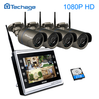 Techage 4CH 11 LCD Monitor Screen Wireless NVR Kit 1080P Wifi CCTV System Outdoor IP Camera