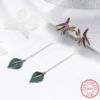 Top Fashion New Sales Colorful Maple Leaf 925 Sterling Silver Earrings for Women Girls Upscale Wedding Aretes Jewelry Gifts