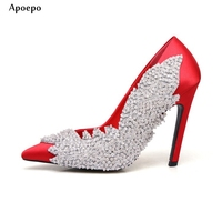 New 2018 Spring Newest Silk High Heel Shoes Sexy pointed Toe Crystal Embellished Dress Heels Woman Shallow Mouth Wedding Shoe