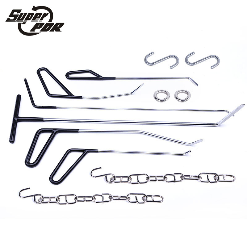 PDR Profession Dent repair Tools 6 pcs black Rods Hooks Car Crowbar 27cm to 52cm length 4mm to 8mm diameter strw6053s to 220f 6