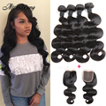 Ali Moda Malaysian Body Wave Human Hair with Closure Malaysian Virgin Hair with Closure 4Bundles Hair Bundles with Lace Closures