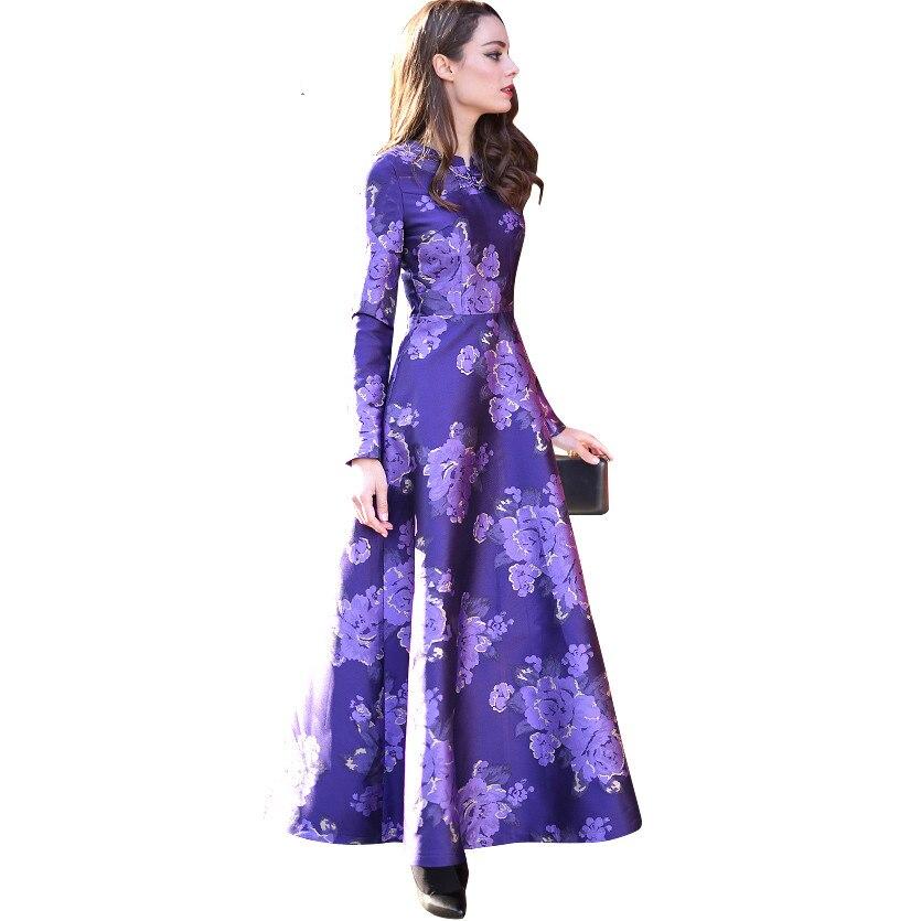 Elegant Chinese Button Women Long Sleeve Maxi Dress Printed Spring ...