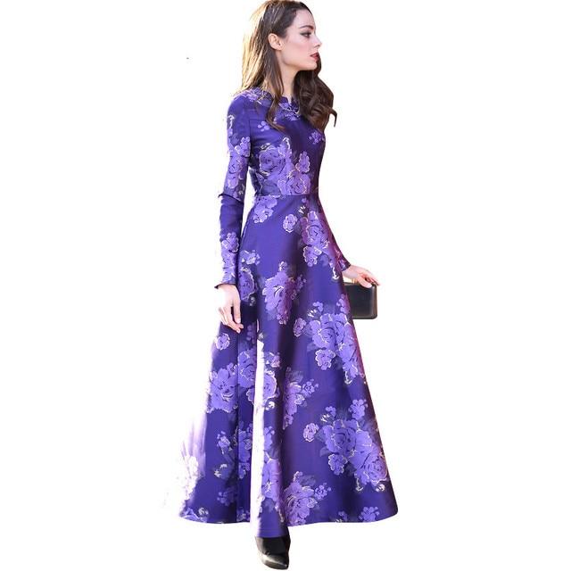 9fc3fee6f9e Elegant Chinese Button Women Long Sleeve Maxi Dress Printed Spring Pleated  Slim Fit   Flare Dresses Plus Size XXXL Purple 5566
