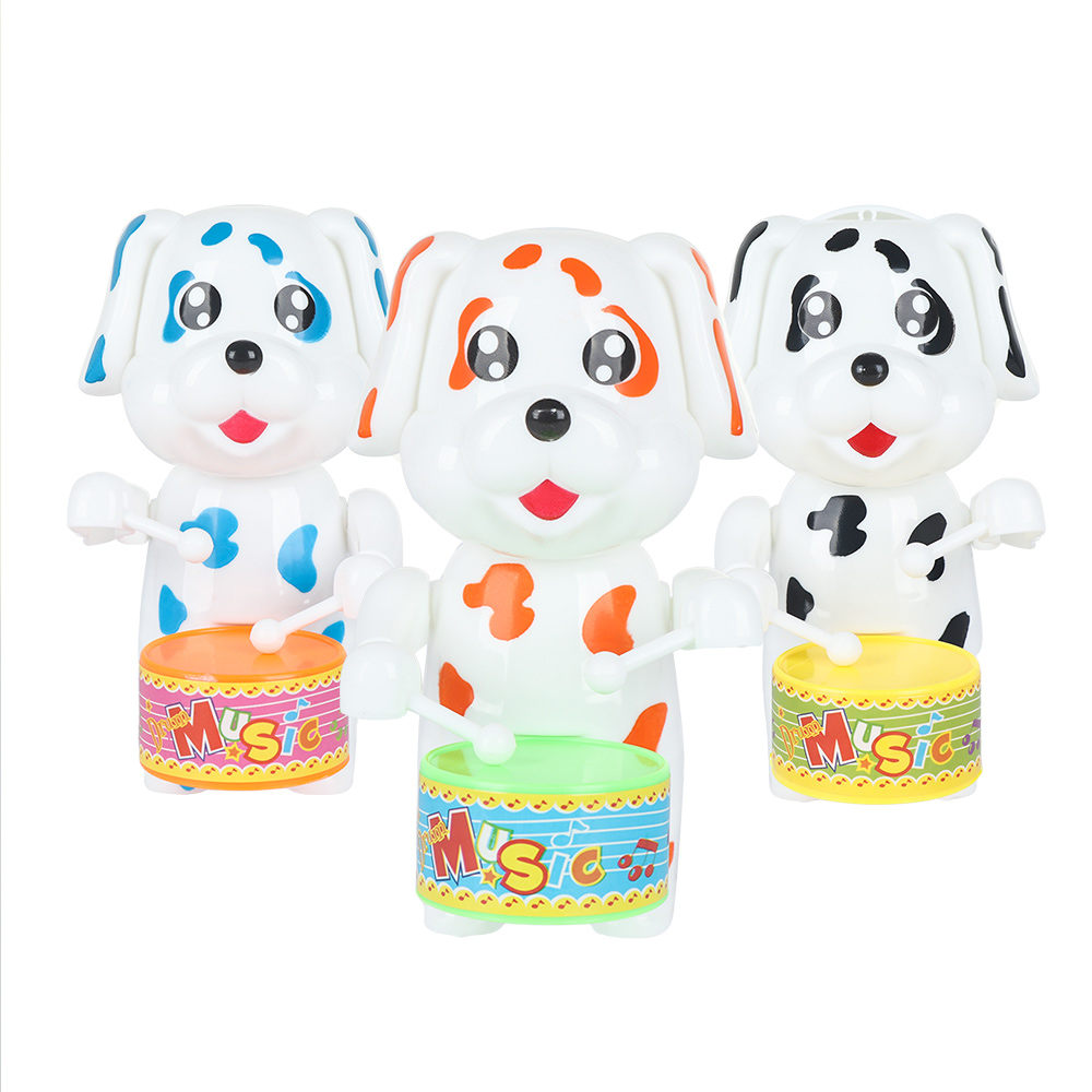 1 Kids Funny Wind Up Dog Drumming Toys for Children Vintage Clockwork Educational Retro Classic Birthday Gifts Surprise Wind-up image