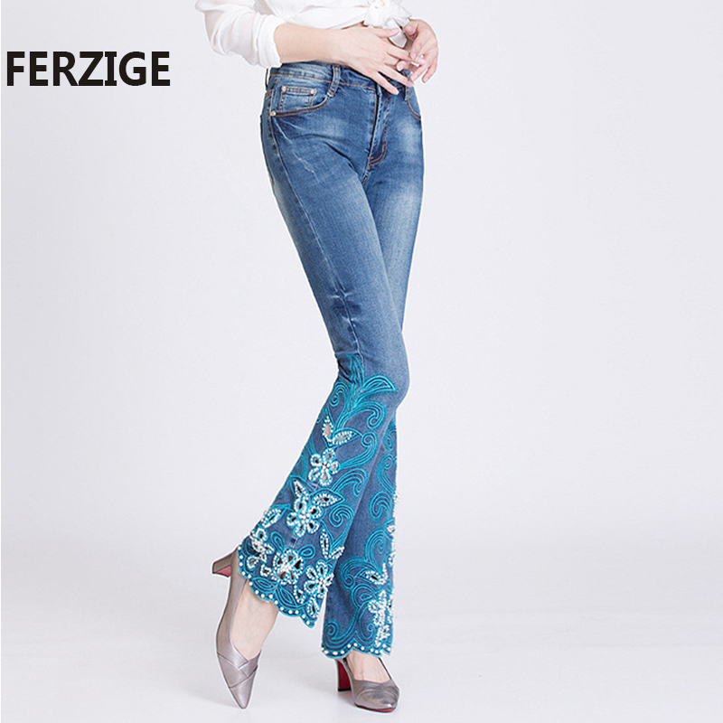 FERZIGE Women Jeans Embroidery Flares Hand Beads High Waist Stretch Jeans for Woman Hollow Out Bell