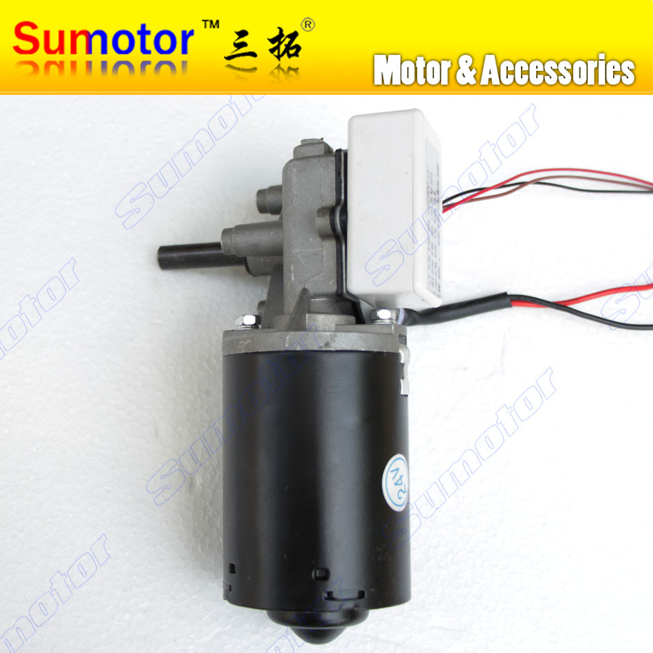 GW6280 DC 24V 30 52 100 rpm Worm Gear Motor left version Self-locking rolling shutter door motor with Hoare encoder Hall sensor