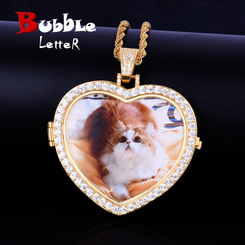 Custom Made Photo Heart Medallions Necklace & Pendant with 4mm Tennis Chain Gold  Color Cubic Zircon Mens Hip hop JewelryPendant Necklaces   -
