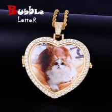 Wykonane na zamówienie zdjęcie medaliony serca naszyjnik i wisiorek z 4mm łańcuszkiem tenisowym złoty kolor Cubic cyrkon męski Hip hop biżuteria