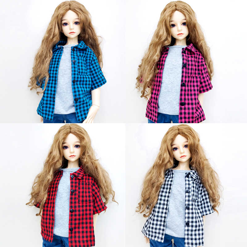 1/3 1/4 1/6 Doll Clothes Fashion Casual Plaid Shirt Mini Simulation T-shirt For Dolls Accessories Handmade Clothes For BJD Gifts