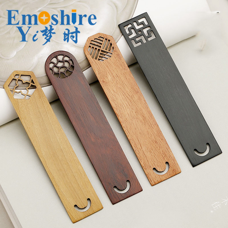 Retro Mahogany Bookmarks Set Classical Hollow Chinese Wood Book Marks Creative Gifts Custom Engraved Logo M051