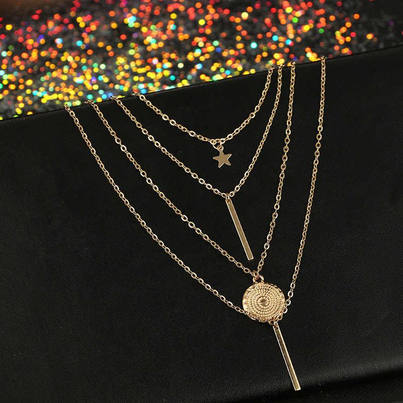 Fidelia New Vintage Boho Nhiều lớp Mặt Dây Chuyền Vòng Cổ cho Phụ Nữ Sao Vàng Sừng Kim Loại Vòng Cổ Bộ Lạc Bạc Vòng Cổ Cổ Áo