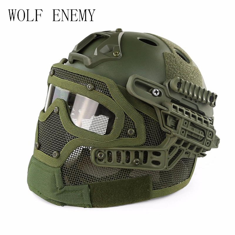 Tactical Helmet BJ PJ MH ABS Mask with Goggles for Military Airsoft Army Paintball WarGame Motorcycle Cycling Hunting fire maple sw8888 outdoor tactical motorcycling wild game abs helmet black