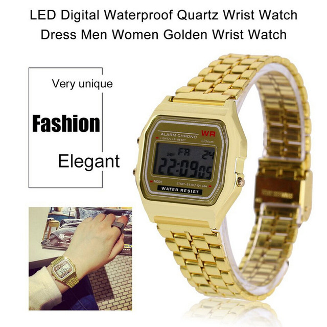 Men Sports Watches Military Quartz LED Digital Waterproof Quartz Wrist Watch Dress Golden WristWatch Women Men Watch Bracelet H2