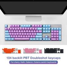 100% PBT Brand New 104 Translucent Space Bar Cap Keycaps Rainbow Key Cap Keyboard Protector все цены