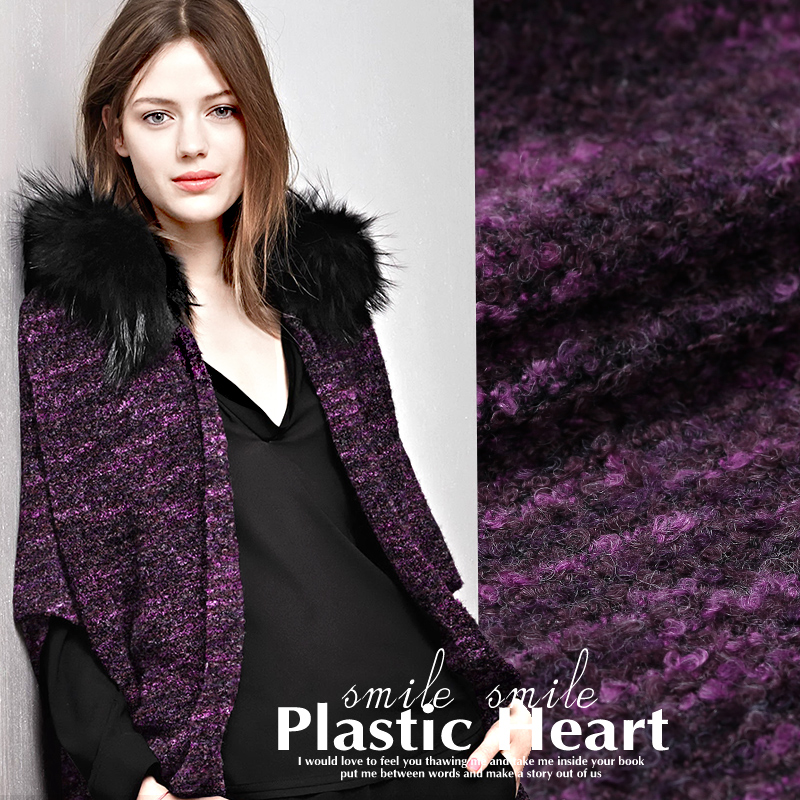 Small fragrant wind jacket thin soft wool fabric woven wool fabrics knitted apparel fashion wholesale high quality wool cloth
