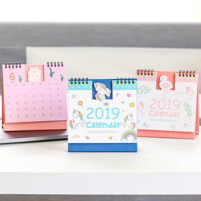 2019 unicorn flamingo animals series mini table calendars desk calendar office school supplies 201810201912