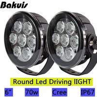 Bakuis 2X 6inch Led Work light Spot Round Led Driving Light For Jeep Ford SUV Pickup Truck Off Road Front Bumper Lamp12V 24V