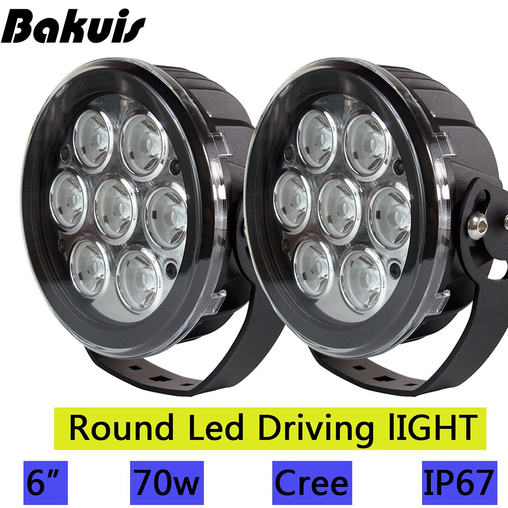 Bakuis 2X 6inch Led Work light Spot Round Led Driving Light For Jeep Ford SUV Pickup Truck Off-Road Front Bumper Lamp12V 24V 10w led work light 2 inch 12v 24v car auto suv atv 4wd awd 4x4 off road led driving lamp motorcycle truck headlight