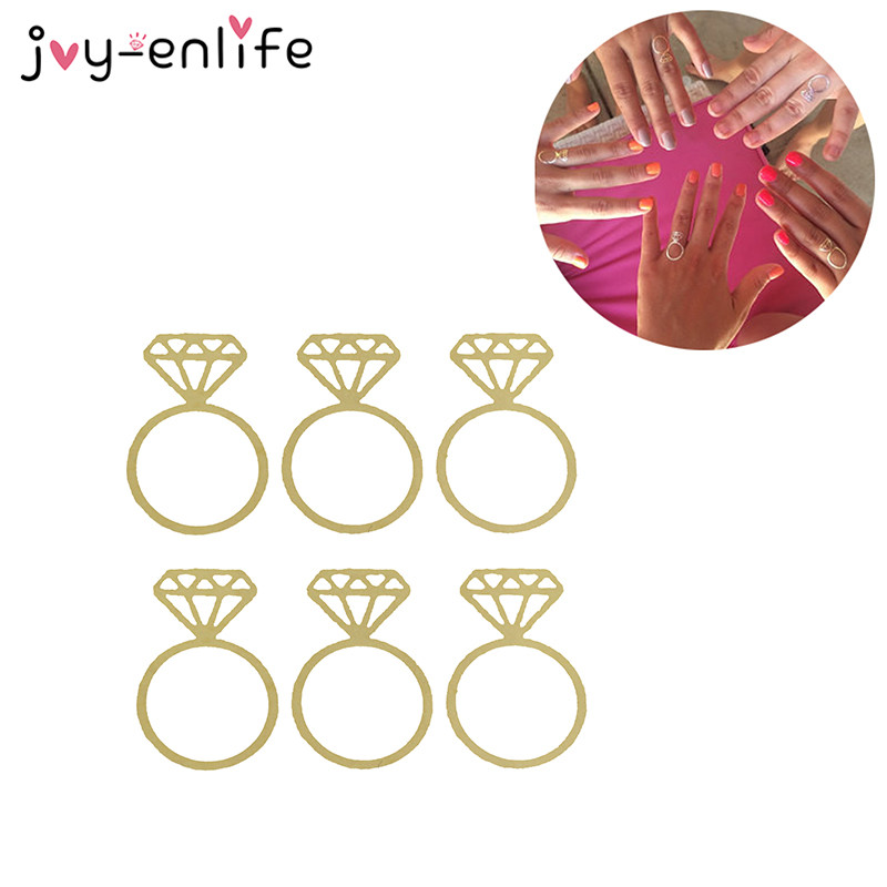 JOY-ENLIFE 10pcs Gold Flash The Diamond Ring Style Temporary Tattoo Wedding Decor Hen Party Single Party Supplies photo props ...