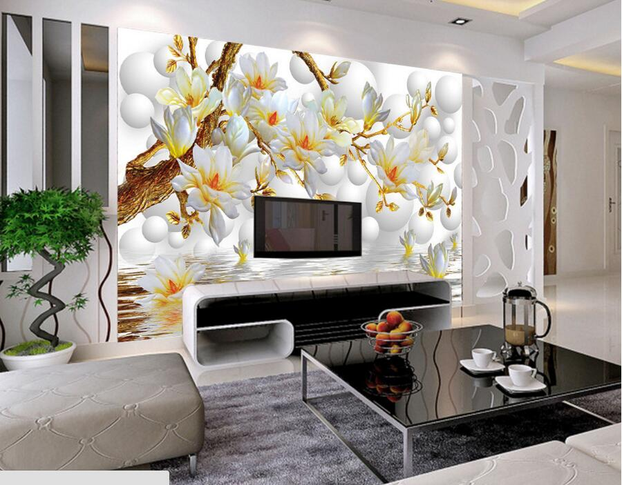 Custom 3d circle background elegant whilte magnolia flower wallpaper living room sofa tv wall for Flower wallpaper for living room
