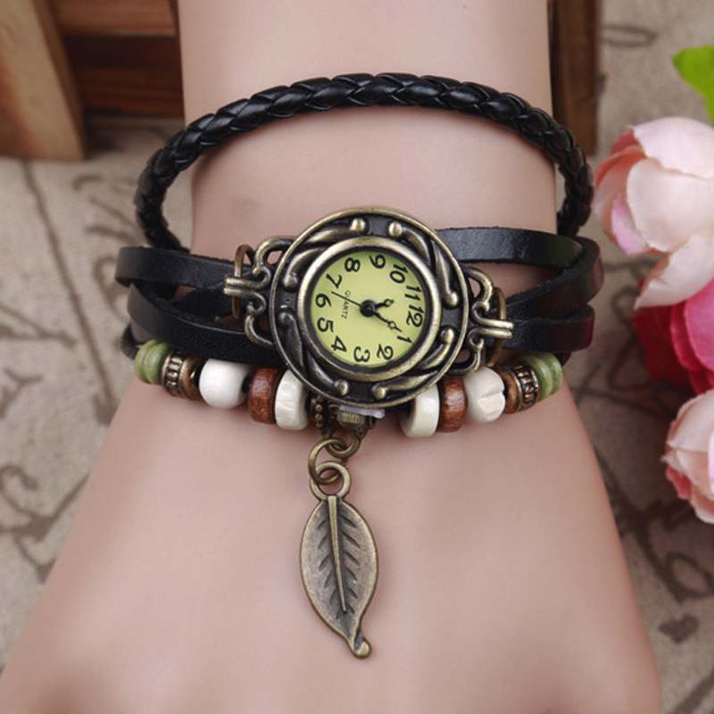 Fashion Women s Wood Bead Casual Vintage Multilayer Wristwatch Weave Wrap Rivet Leather Bracelet Wrist font