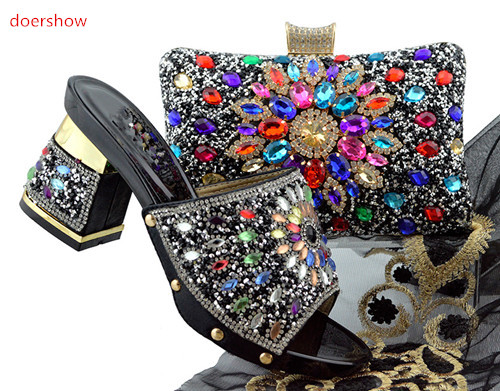 doershow black Matching Shoes and Bag Set Decorated with Rhinestone African Women Italian Shoes and Bag Set for Wedding SFG1-1 cd158 1 free shipping hot sale fashion design shoes and matching bag with glitter item in black