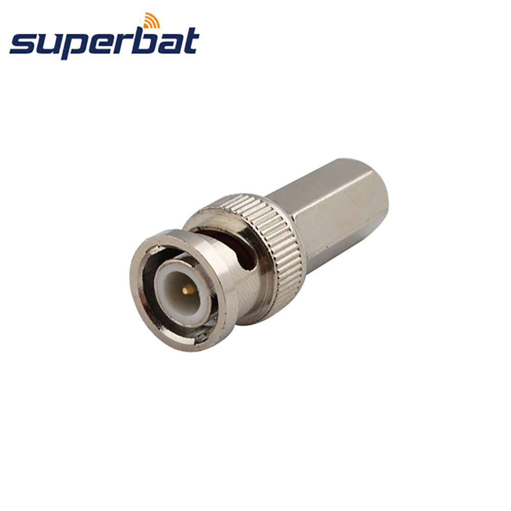 Superbat BNC Twist-on Plug Straight Cable Mount RF Coaxial Connector 50 Ohm for Cable RG59 LMR240 Audio & Video