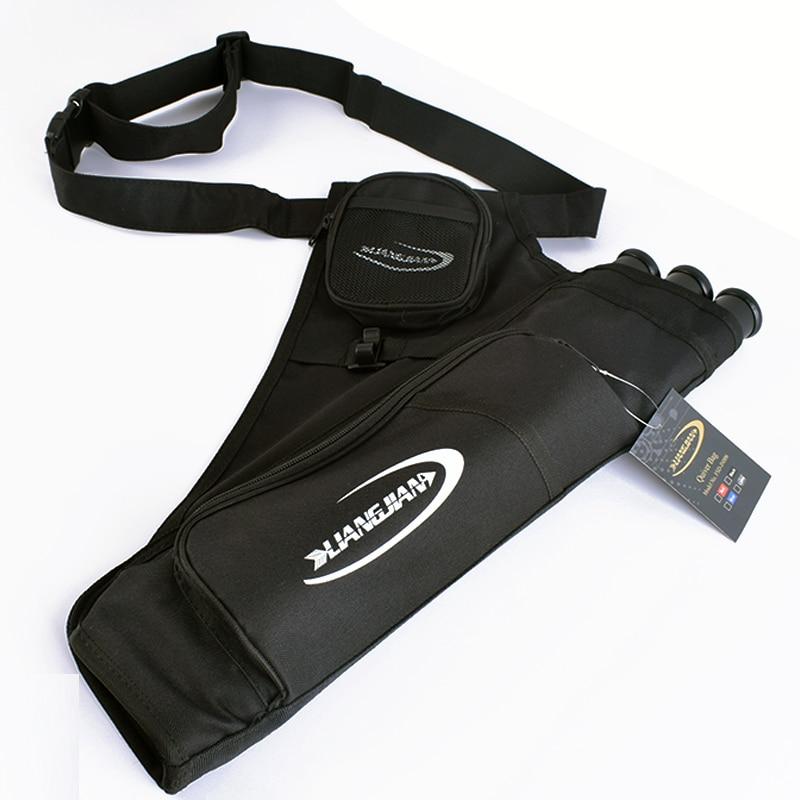 3-Tubes Hip Quiver Archery Arrow Waist Bag w// Pockets Adjustable Belt Black