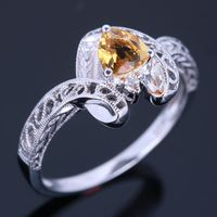 925 Sterling Silver 1ct Genuino Citrino Pavimenta Diamantes Naturales Wdding de Piedras Preciosas Anillo de Compromiso Joyería de la Antigüedad de La Vendimia al por mayor