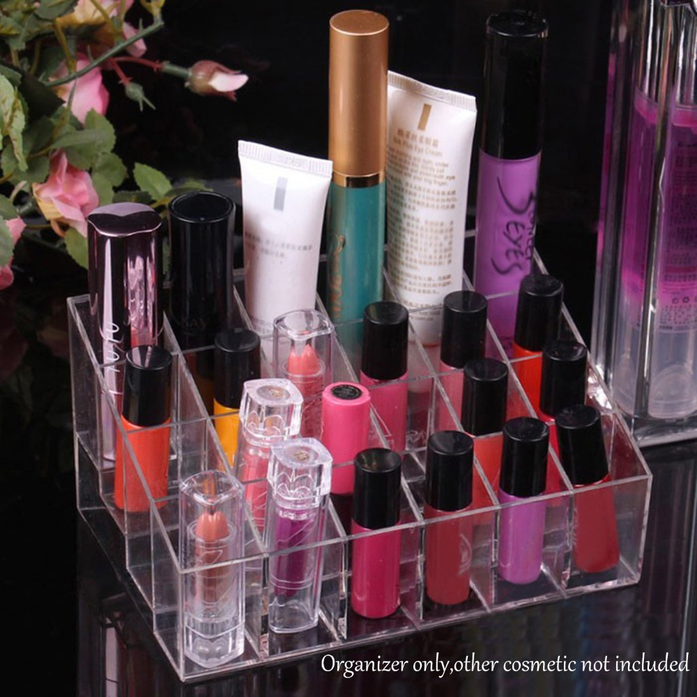 Behogar Clear Acrylic 24 Lipstick Holder Display Stand Cosmetic Storage Rack Makeup Make Up Case Box Container organizador