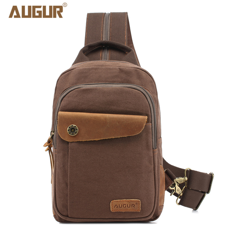 AUGUR Fashion Chest Bag Messenger Casual Canvas Crossbody Men Shoulder Bag 2 Sling Multifunction Small Travel Bag augur fashion men s shoulder bag canvas leather belt vintage military male small messenger bag casual travel crossbody bags