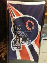 Chicago Bears Helmet    Flag  150X90CM Banner 100D Polyester3x5 FT flag brass grommets 001, free shipping