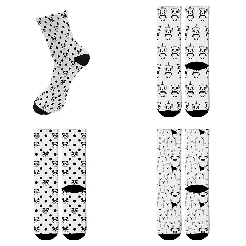 New Funny Panda Printed Running Socks Women's Men's Street Funky Long Sock Fashion Novelty Summer Socks 7ZWL11