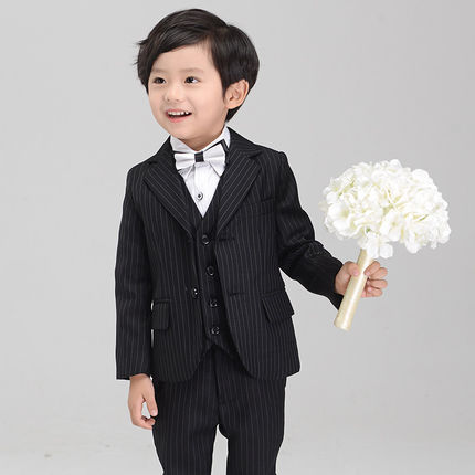 (Jackets+Vest+Pants+Tie+Shirt)baby kids boys children blazers suits boys suits for weddings formal wedding suit flower boy dress high quality 2016 new arrival fashion baby boys kids blazers boy suit for weddings prom formal dark blue dress wedding boy suits